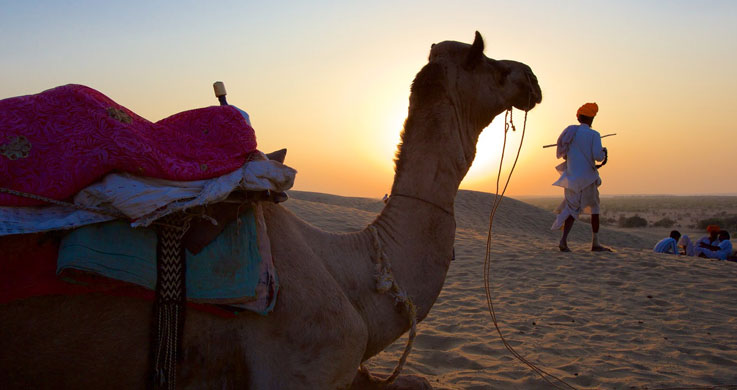 desert sunset in jaisalmer