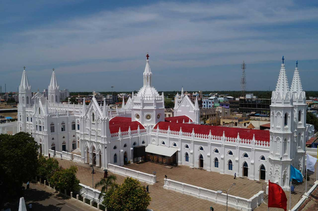 Velankanni Church in pilgrimage holiday destinations in india